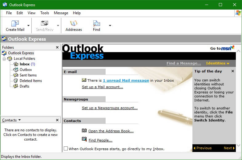Outlook Express фирменный интерфейс программы