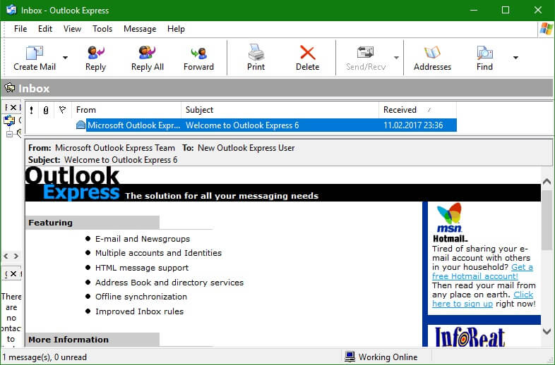 Outlook Express просмотр email